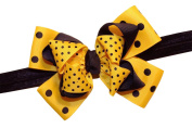 WD2U Girls Yellow Black Dotted Bumble Bee Boutique Hair Bow Stretch Headband USA