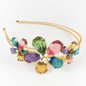 Beautyxyz high quality Multi-colour rhinestones three flowers design metal headband