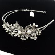 Beautyxyz Bridal Wedding Jewellery Crystal Rhinestone Ivory Pearl Duo Flower headband Silver