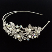 Beautyxyz Bridal Jewellery Crystal Rhinestone Ivory Pearl Flower headband for Wedding/party