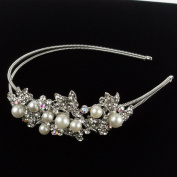 Beautyxyz Womans Bridal Wedding Tiara Headband With Ivory Colour Pearls and Crystals