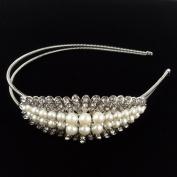 Beautyxyz Wedding Fashion Women's Crystal Rhinestone Ivory Pearls Headband Hair Band