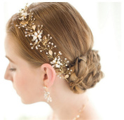 Pavia vintage golden floral leaves crystal pearl headpiece hairbands