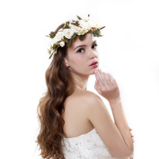 AWAYTR Natural Berries Reeds Flower Crown with Adjustable Ribbon for Wedding Festivals
