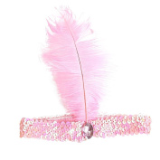 Shuohu Women Flapper Sequin Feather Headband Costume Party Head Band