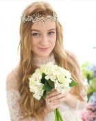Pavian gold alloy crystal diamond Floral tiara wedding hair accessories frontlet headband