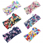 Baby's Elastic Flower Printed Turban Headwrap Knotted Soft Twisted Headband