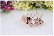 Fashion cat The South Korea's new temperament fashion alloy set auger dish hair combs butterfly Han edition hairpin bride headdress(3pcs,Random style)