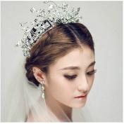 Fashion cat Korean bride headdress Handmade crystal diamond Soft crown White wedding dress Deserve to act the role of hair