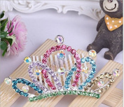 Fashion cat The latest version of tyre crown of children Colour rhinestone bridal crown The little princess balls first comb