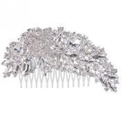 Fanamskl Women's Bridal Wedding Crystal Rhinestones Hair Comb Decor Flower Style Charming Clip Hair Pin Hair Accessories