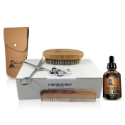 COMPLETE Beard Grooming Kit W/ Pouch- Stainless Steel Scissors, 13cm Beard/Moustache Comb, 100% Natural Boar Bristle Brush. Includes Top-Rated Organic Beard Oil-Made With ARGAN OIL & JOJOBA OIL.