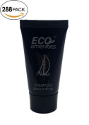 ECO AMENITIES Black Tube Flip Cap Individually Wrapped 22ml Shampoo, 288 Tubes per Case