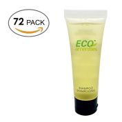 ECO AMENITIES Transparent Tube Flip Cap Individually Wrapped 30ml Shampoo, 72 Tubes per Case