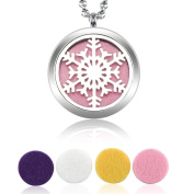 Blowin Stainless Steel Perfume Locket Aromatherapy Pendant Essential Oil Diffuser Necklace Snowflake with 60cm Chain + 6 Felt Pads