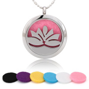 Blowin Stainless Steel Lotus Flower Aromatherapy Essential Oils Diffuser Locket Necklace, 60cm Beads Chain and 6 Colour Felt Pads