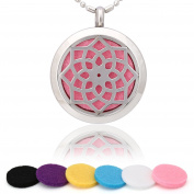 Blowin Premium Sunflower Pattern Aromatherapy Essential Oil Diffuser Necklace Locket Pendant, Hypo-allergenic Stainless Steel Jewellery with 60cm Chain and 6 Washable Pads