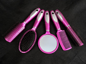 Longlove Professional Comb 5 Set Anti-static Portable Comb Massage Relax Brush Mirror
