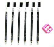 Crispy 6 Pieces Eyebrow Pencil With Brush And 1 Sharpener Set
