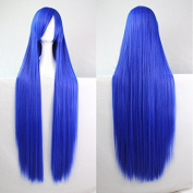 Womens Ladies Girls 100cm Royal Blue Colour Long Straight Wigs High Quality Hair Carve Cosplay Costume Anime Party Bangs Full Sexy Wigs