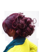 Hair Extensions Curly Or Messy Drawstring Updo Full Bun Wine Plum Burgundy Mix1 Synthetic