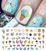 Summer Time Fun Nail Art Decal Set #1- Ice Cream, Flip Flops & More! Salon Quality!