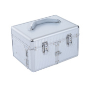 Soozier 3 Tier Lockable Cosmetic Makeup Train Case with Extendable Trays - Silver