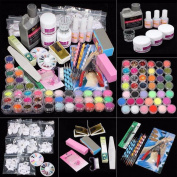 Yoyorule Professional 42 Acrylic Powder Liquid Brush Glitter Clipper Primer File Nail Art Tips Set Kit with Duck Nail Tips