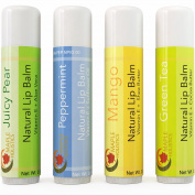 Natural Lip Balm For Women And Men - Flavoured Lip Balm For Dry Lips - Therapeutic Lip Repair Treatment - Four Flavour Multipack With Aloe Vera Shea Butter And Antioxidant Rich Vitamin E