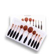 10 Pcs Toothbrush Shaped Oval Makeup Brushes Eyeshadow Brush Set