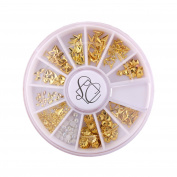 S & C 240PCS 3D Metal Nail Art Studs Nail Decoration Wheel