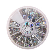 S & C 3D Bling Glitter Nail Art Rhinestone Nail Decoration Wheel