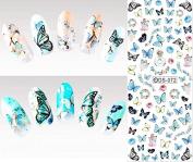 Nail Art Water Transfer Stickers Butterflies - DS072 Nail Sticker Tattoo - FashionDancing
