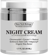 Night Cream from New York Biology - Best Night Time Anti Wrinkle Cream Helps Diminish the Appearance of Wrinkles and Fine Lines While Revitalise Skin - 1.7 fl oz 50 ml