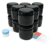 Black 120ml Double Wall Plastic Jar with Lid 12 pk with Mini Jar