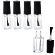 5 Pcs Clear Empty Glass Square Bottom Shape Nail Plish Bottle Bottles with Cap and Soft Brush
