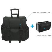 Rolling Soft Makeup Case - 8 Drawers, 4 External Pockets, 2 Wheels, Black Nylon