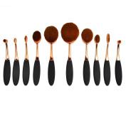 Makeup Brush Sets, 10Pcs Womens Exquisite Powder Brush Set Makeup Brush Making-Up Tool - Black + Rose Gold