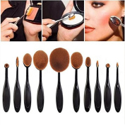 Biutee 10PC/Set Pro Toothbrush Shaped Makeup brush Power Face Eyeliner Lip Oval Cream Puff Brushes Makeup Beauty Tools