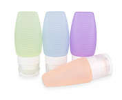 Aoohe Travel Bottles Set Portable Leak proof Soft Silicone Containers 80ml for Shampoo Cosmetics Toiletry Lotion With Make Up Brush Washing Function