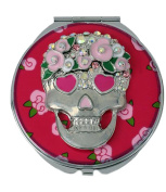Betsey Johnson Silver-Tone Pink Flower Skull Compact Mirror