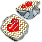 BleuReign(TM) Hello Beautiful Red Heart Compact Mirror