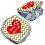 BleuReign(TM) Hello Beautiful Red Heart Compact Mirror