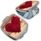 BleuReign(TM) Heart Shaped Bouquet of Roses Compact Mirror