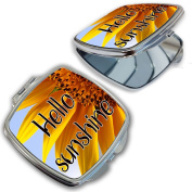 BleuReign(TM) Hello Sunshine with Sunflower Background Compact Mirror