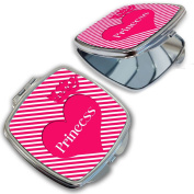 BleuReign(TM) Pink Princess with Heart and Crown Compact Mirror
