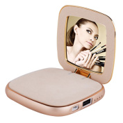 Portable Cosmetic Mirror Power Bank,KINGSTAR 4000mAh Mini Compact Makeup Mirror External Travel Power Bank Backup Battery Charger for Cell Phones