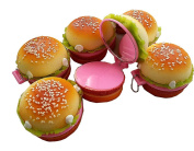 GoldenLiving168 Cute Hamburger Treats Folding Compact Pocket Cosmetic Keychain Mirror