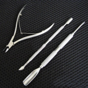 3 Pcs Dazzling Popular New Nail Cuticle Nipper Clipper Finger Grooming Fingernail Cleaner Plier Care Metal Stainless Steel Colour Silver