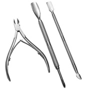 Biutee  3 Pcs Stainless Steel Nail Tool Nail Tools Nails Tools Cuticle Nipper Spoon Cuticle Pusher Remover Cutter Clipper